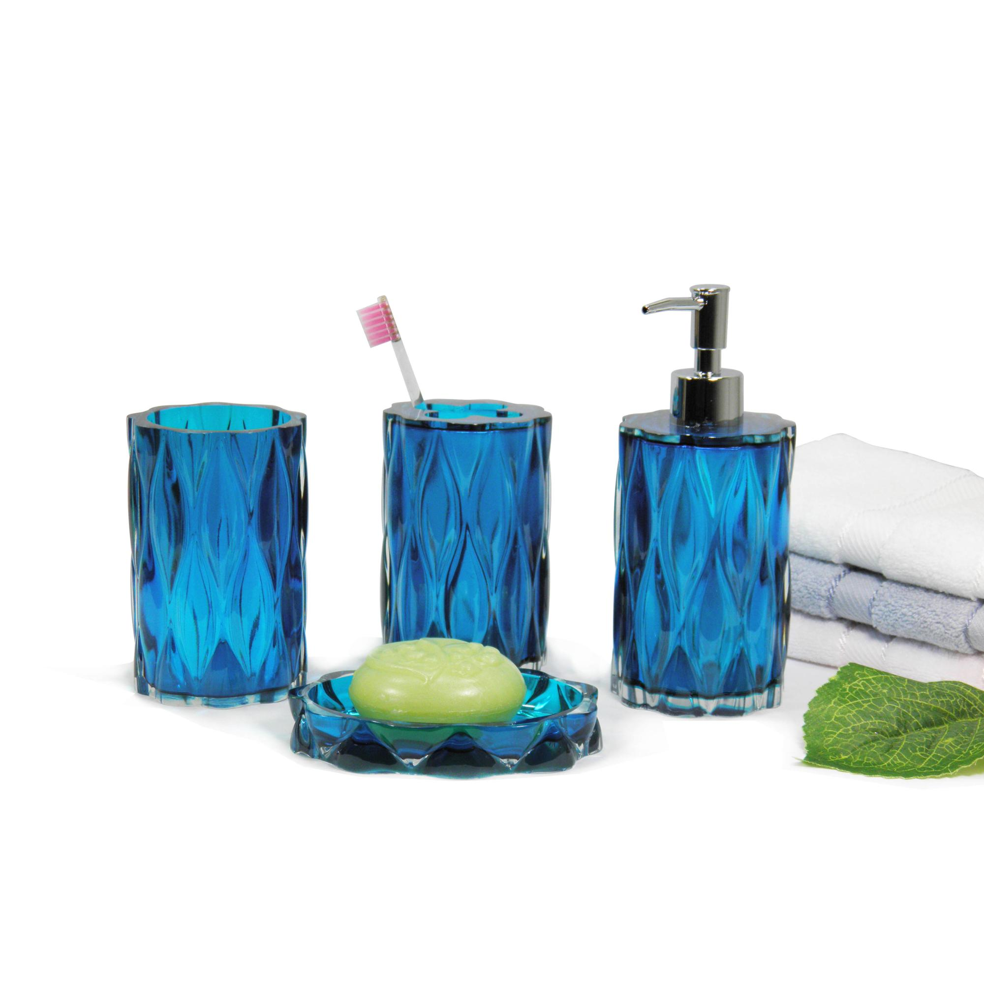 Bathing Products Factory Price Transparent Blue Glass Effect Resin Bath Accessories Set for Home and Hotel  with dispenser