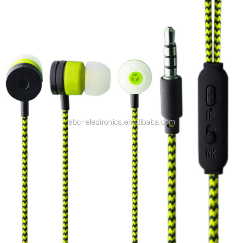MP3/mp4 Roping Stereo Earphone Noise Isolating Reflective Fiber Cloth Line 3.5mm In-ear Earphone For xiaomi Earbuds