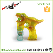 Transparent Dinosaur Water Bubbles Gun with Music and LED Flashing Light 1 Bottle Soap Bubble Gun