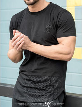 Stylish Blackout Hem Mesh Panel T-Shirt for Men Black Plain Cotton Spandex Gym T Shirt Short Sleeve Curved Hem T Shirt