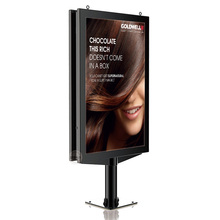 One Pole Standing LED Backlit Scrolling Advertising Light Box Cover by Strong Temperted Glass
