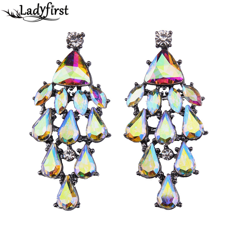 Ladyfirst 2016 New Arrival Long Rainbow Beads Luury Wedding Engagement Boho Big Brand Stud Earrings For Women Accessories 3661