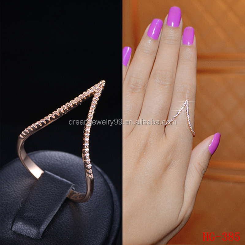 Top Quality CZ Paved Rose Gold New Christmas Design V Shape Rings For Women