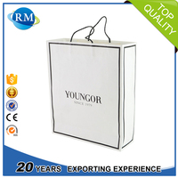 Luxury recycled customized printing logo white shopping paper bag
