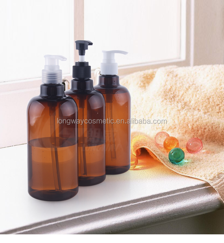 500ml brown plastic pet bottle with lotion pump round shampoo bottle