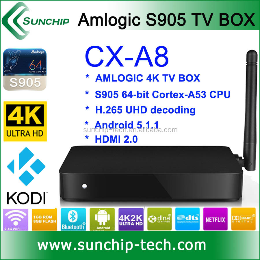 Google Android 5.1 Lollipop Smart TV BOX Kodi 15.2,4K 16GB eMMC Amlogic S905 Quad Core TV BOX