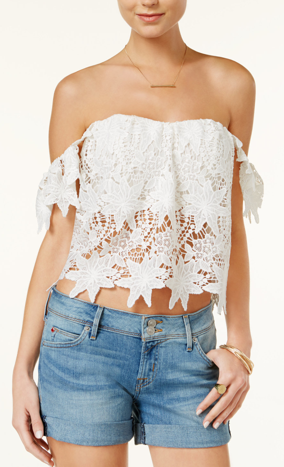 Latest Trends Online Women Tops Off-the-shoulder Floral Lace Crop Top With Zip Back