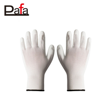 White PU coated work gloves nylon/polyester gloves