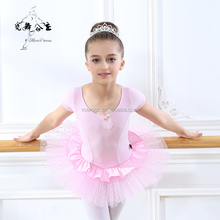 Hot Sale Short Sleeve Polka Dot Tutu Skirt Ballet Dress For Girls Dance Dress