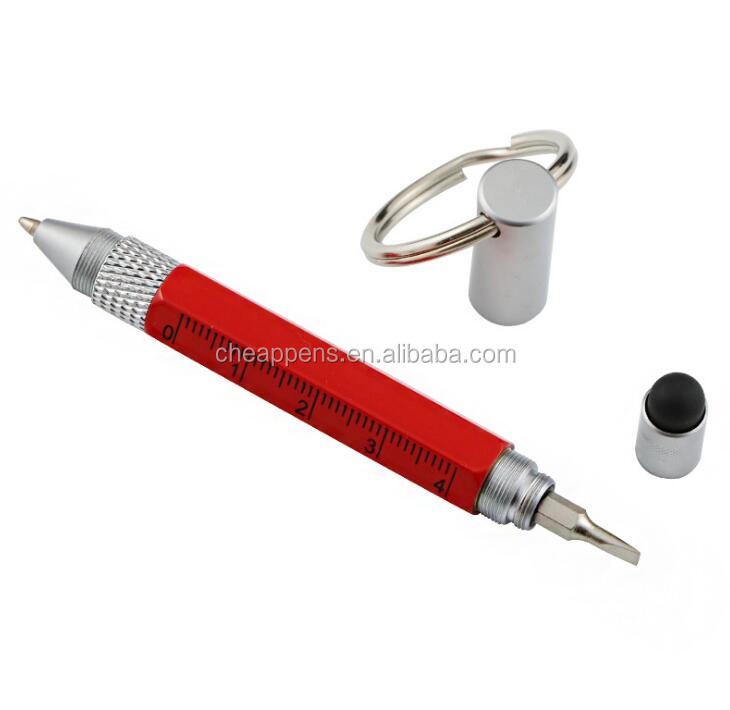 8 in 1 Multifunction metal Tool Screwdriver Ruler Level Touch Stylus LED Ballpoint Pen