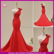 SW1024 one shoulder beautiful mermaid cut red satin suzhou aegean wedding dress