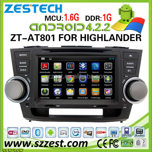 ZESTECH 2din OEM pure Android 4.4.4 car audio radio for TOYOTA Highlander with capacitive screen bluetooth GPS WiFi 3G
