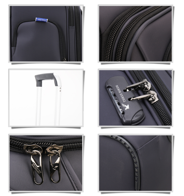 High quality waterproof fabric soft trolley luggage with TSA lock Modern fashion trolley travel luggage bag Oxford heavy luggage
