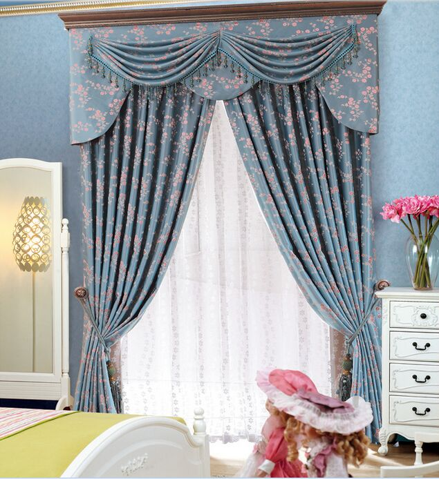 european style jacquard fabric window curtains with attached elegant valance