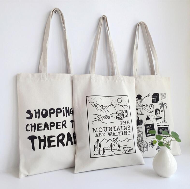 Top Sale High Quality White Printing Gift Company Wholesale Canvas Bag