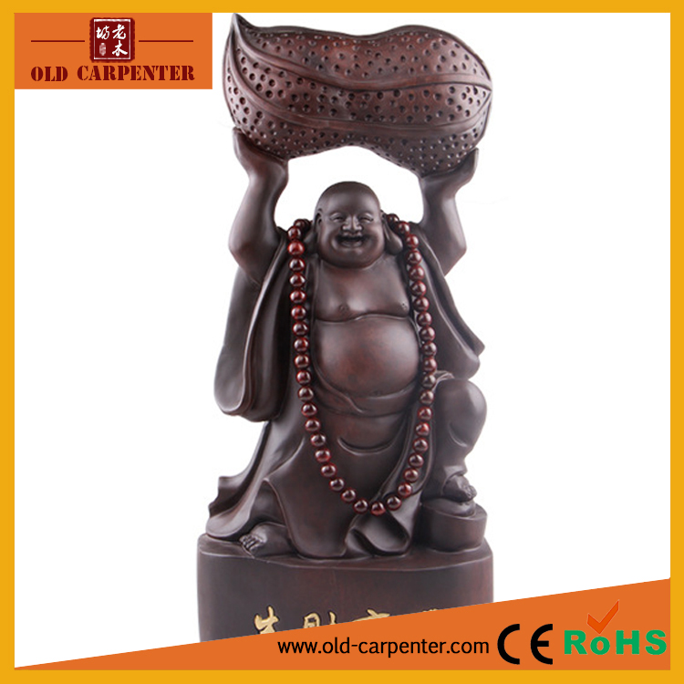 Fortune Bringing Buddha art mind ornament 50*22*11cm wood carving craft