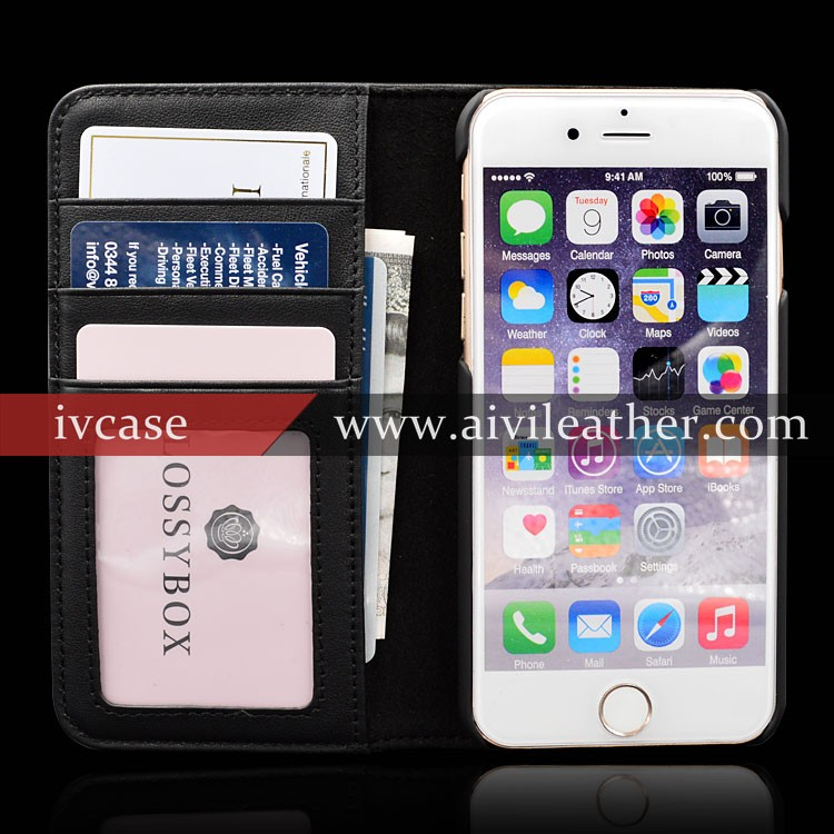 Superb Premium Leather Mobile Phone Cases for Iphone 6 Case Wallet with Stand Magnetic Closure Card Slots