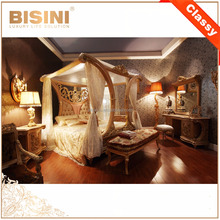 French Baroque Design Wooden Bedroom Furniture Set King Size Canopy Bed/ Antique Vintage Finishing Fancy Four Poster Bed