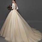 Ball Gown 3/4 Sleeve Bateau Chapel Train Tulle Wedding Dress With Lace