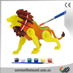 Hot selling DIY Lion Wood 3D Educational Puzzles