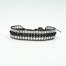 Jewelry Seed beads with High Quality Leather Chain 1 Wrap Handmade Beaded Bracelet