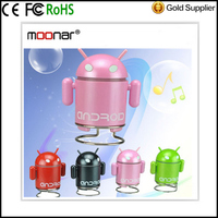 4 Colors Portable Mini USB Loud speaker TF SD Card Voice sound box Android Robot Shape Bluetooth Mini Speakers
