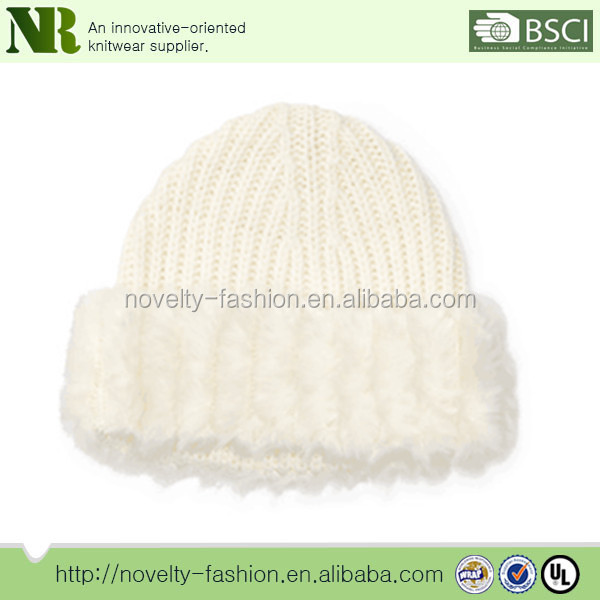 2017 new design high quality faux fur-brim hat with slip-on styling and ribbed ends