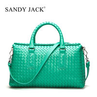 1 Piece Available OEM Canada popular stylished Women Gender and Sheep Material handbag Handmade weaving Craft emerald green bag