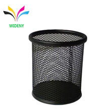 Wideny powder coated desk desktop table promotion wholesale stationery single stand office metal black pencil cup pen holder
