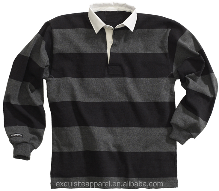"Classic 4 "" Striped Long Sleeve Men's American Style Rugby Polo Shirts /Custom Heavy Cotton wholesale Mens Rugby Polo Shirts"