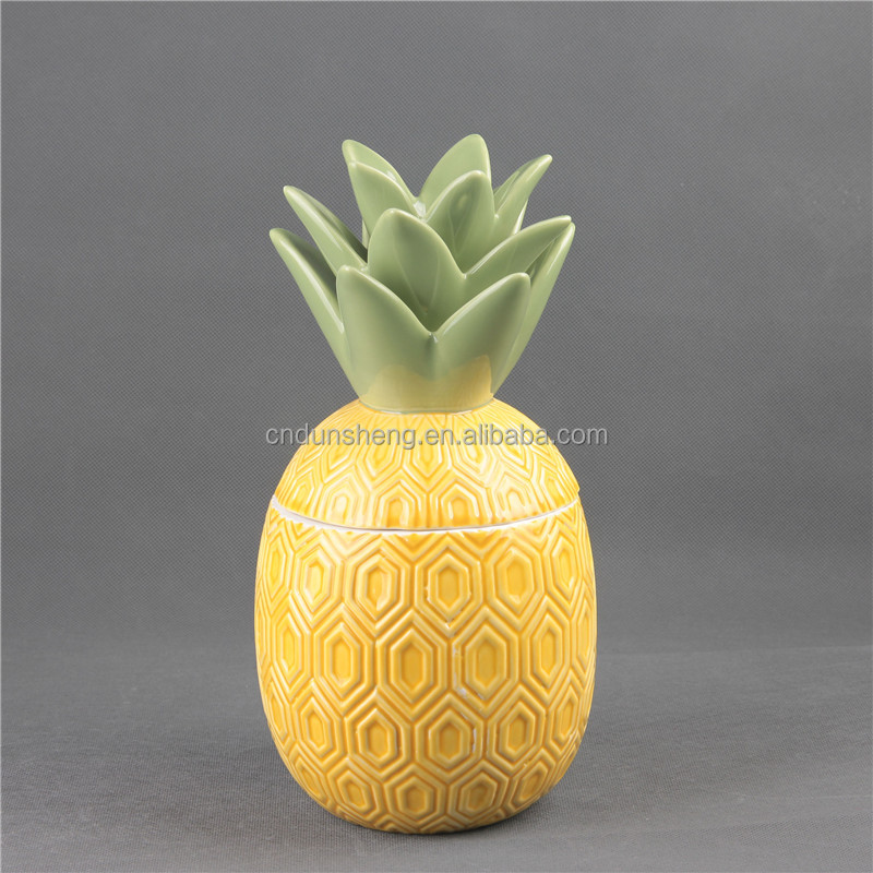 Ceramic Pineapple Candy Biscuits Storage Bottles Tea Jar for Home decoration