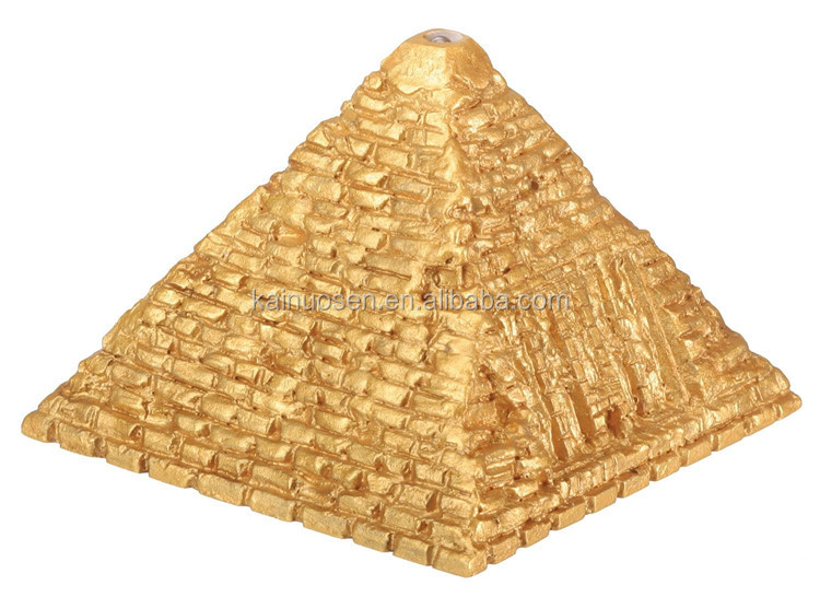 small lighted golden handmade painted resin egyptian statue pyramid