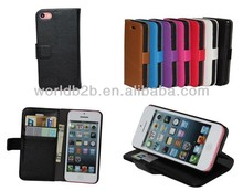 2013 New Arrival Litchi Flip Wallet Leather Case for iPhone 5C with Stand & Credit Card Holder Design