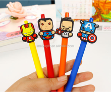 2016 new arrival fashion avenger hero shaped rubber gel ink pen