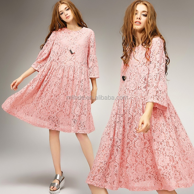 Women Wedding Bridesmaid Maxi Formal Dress Oversized Plus Size Swing Pink Lace Evening Dress 2017