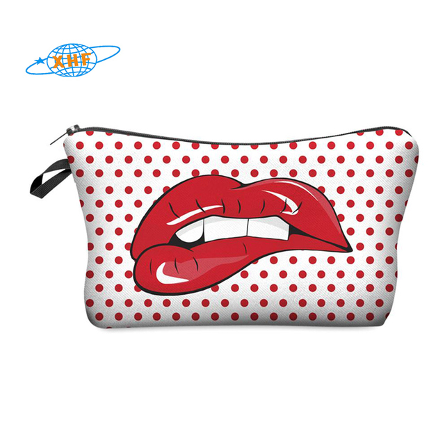 lip shaped cosmetic bag 3d print cosmetic bag high quality wholesale travel makeup cases with zippers pouch purses wallets