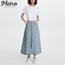 wholesale cotton Zipper Front women long denim skirt