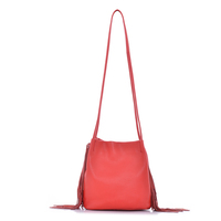 Youth Girl Warm Red Tassel One Handle Genuine Leather Long Shoulder Bag