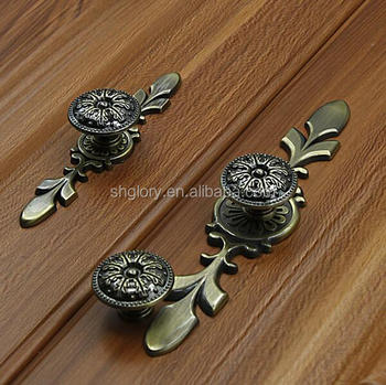 Zinc alloy antique bronze cabinet handle, drawer pull classical style cabinet knob