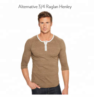 Three quarter sleeve shirts 3 4 sleeve raglan mens blank t shirt button up brown navy blue burgundy t shirt cotton polyester