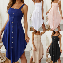 New Fashion Summer Women Solid Color Button Strap Dress Casual Irregular Hem Beach Dress Midi