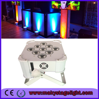 Hot sales Wireless Battery Powered LED Uplights 9x6W RGB 3 in 1 Led Flat Par Can Wireless Wedding uplighting
