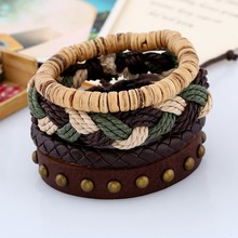 Cuff Vintage Jewelry Accessories Simple Design Handmade European Punk Style Leather Bracelets