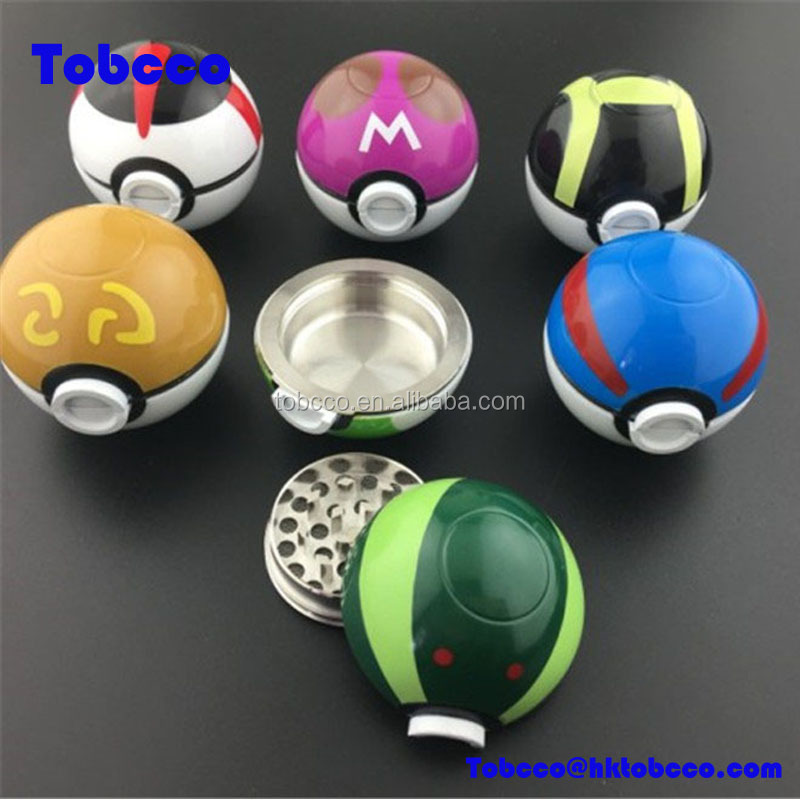 wholesale 55mm Diameter Pokemon Poke Ball Grinder Zinc Alloy Colorful Game Ball Herb Tobacco grinder weed