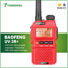 Red BAOFENG UV-3R+ VOX VHF/UHFPortable Radio Walkie Talkies hands free headset 2 Way Radio