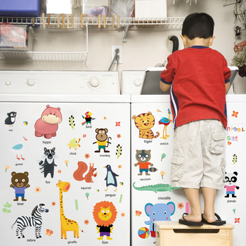 Kids Room decorative Learning English cartoon animals name DIY decorative sticker