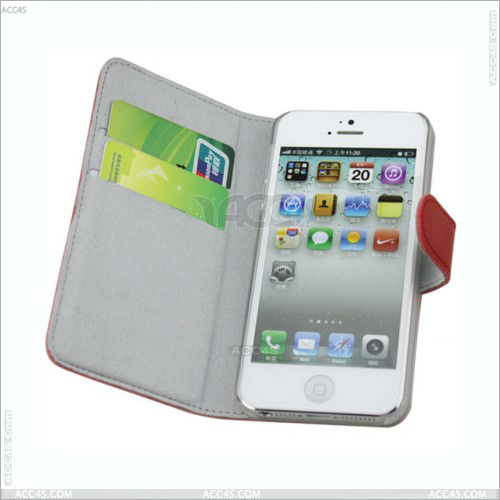 PU Leather Wallet Case Cover With Credit Card Slots For iphone 5 P-IPH5CASE020