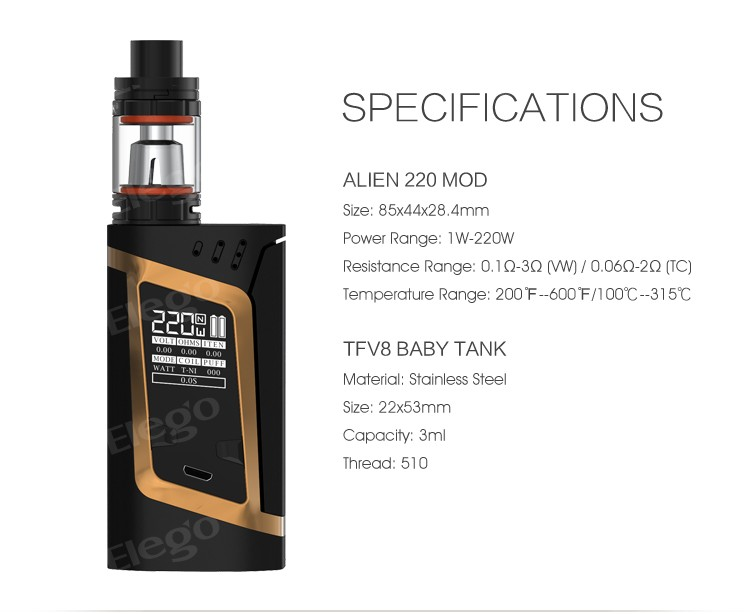 Elego Hot New Vape Kit SMOK Alien Kit With 220W Battery Mod Smok Alien 220W Kit