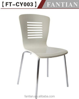 Fantian FT-CY003 white metal base plastic chair for dining room furniture