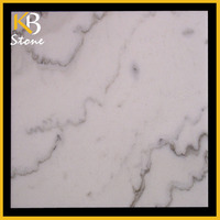 1cm thick white marble tiles with gray veins for floor tiles